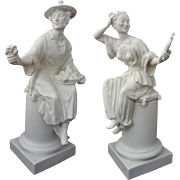 Pair Chinoiserie Royal Worcester Figurines White Bisque / Biscuit Mid-Century - 1957 and 1966,