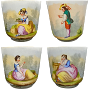 Set Four Early Antique Handpainted Demitasse Cups and Saucers