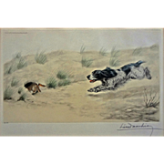Leon Danchin Numbered 187/500 Lithograph Spaniel Dog Chasing Rabbit Pencil Signed  -  1938, Fr