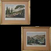 Pair Early Italian Views Villa d'Est Tivoli Lithograph and Valerian Way Engraving - 19th ...
