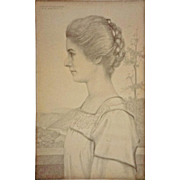 Antique Pencil Drawing Portrait Young Woman Profile Signed WILLIAM FULLER CURTIS and Dated - 1