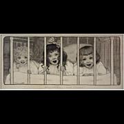 Original Antique Drawing Children Illustration signed Maria L. Kirk with Provenance, Pen, Ink,