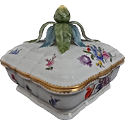 Nymphenburg Rococo Style Large Porcelain Candy Box and Lid Floral Bouquet - Post 1910, Germany
