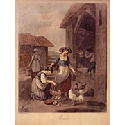 Month of March Color Mezzotint Etching after Bartolozzi and Hamilton, Framed - c. 19th Century