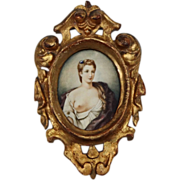 Antique Miniature Portrait of Lady in Florentine Gilt Frame - c. 19th Century, Italy
