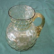 Amber Bubble Glass Water Jug Applied Handle