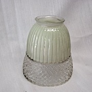 2 Vintage Green To Clear Glass Shades