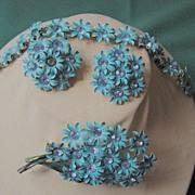 SALE Vintage Hand Painted  70's Bracelet/Brooch/Earrings