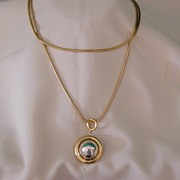 SALE Bright Polished Gold Chain Necklace With Drop Circle And Ball