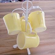 SALE Yellow FireKing Mugs With White Rack
