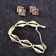 Monet Gold Plate Link Bracelet And Earrings