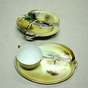 Noritake Hand Painted Barn Scene Snack And Bowl Set