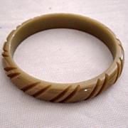 SALE Carved Bakelite Carmel Color Bangle Bracelet