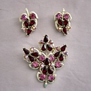 SALE Pink And Red Leaf And Bud Pattern Brooch And Earrings