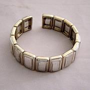 Clamp Brushed Silver And Polished Gold Bracelet