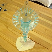 Fenton Blue Feather Vase With Crimped Top In Stand