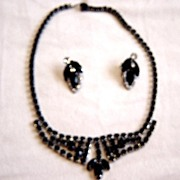 Weiss Black Stones And Clear Stones Necklace With Earrings