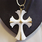 SALE White Enameled Cross Pendent Necklace