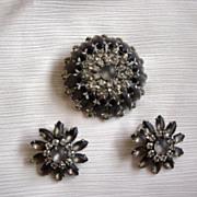 VIntage Judy Lee Dark Purple And Rhinestones Brooch And Earrings  Set