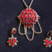 REDUCED Firey Red Judy Lee Necklace And Earrings