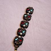 SALE Vintage Pearl And Stone Loaded Bracelet
