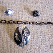 Siam Sterling Silver Bracelet,Pin And Earrings