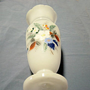 Pair Vintage Frosted Hand Painted Vases