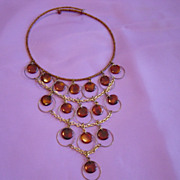 SALE Brown Disk And Seed Beads Choker  Drop Disk Necklace