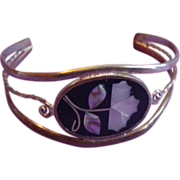 LPACA Open Cuff With Inlay Sterling Silver Bracelet