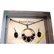 REDUCED Charles Klein Blood Red And Rhinestone In Gold Necklace /ER Set