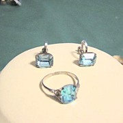 Sterling Aqua Blue Stone Ring And Earrings