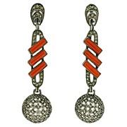 Art Deco Fahrner Sterling, Carnelian & Marcasite Earrings