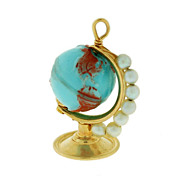 Vintage 14kt Gold & Pearl Moveable Globe Charm