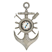 Victorian Huge Sterling Silver Anchor Compass Pendant
