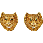 Victorian 14kt & Diamond Repousse Lion's Head Cufflinks