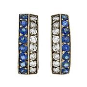 Retro 14kt Diamond & Sapphire Clip-On Earrings