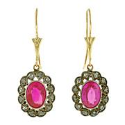 Late Art Deco 14kt & S/S Diamond & Ruby Earrings