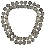 Victorian Russian Silver Coin Necklace