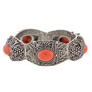 Retro Chinese Silver Cannetille & Coral Link Bracelet