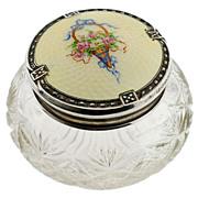 Late Victorian Cut Crystal Jar w/Sterling & Enamel Lid