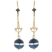 Art Deco 10kt & Silver, Sodalite, Crystal & Pearl Earrings