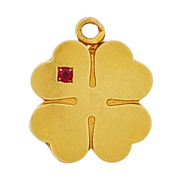 Late Victorian 14kt Gold & Ruby Four-Leaf Clover Locket