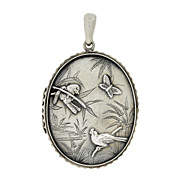 Victorian Sterling Silver Bird & Butterfly Scalloped Locket