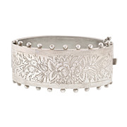 Victorian Sterling Silver Etched Hinged Bracelet