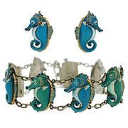 Vintage Toshikane Silver & Porcelain Seahorse Earrings