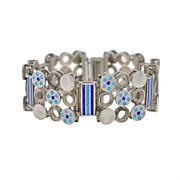 UNOAERRE Vintage Sterling & Enamel Bracelet