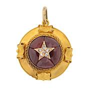 Victorian 15kt Carved Garnet & Diamond Star Locket Pendant