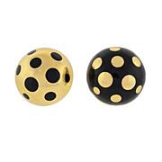ASCH GROSSBARDT Estate 14kt Gold & Enamel Dot Earrings