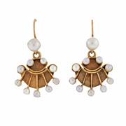 Vintage 14kt Gold Pearl Fan Earrings