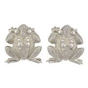 TIFFANY & CO. Estate Sterling Silver Frog Clip Earrings